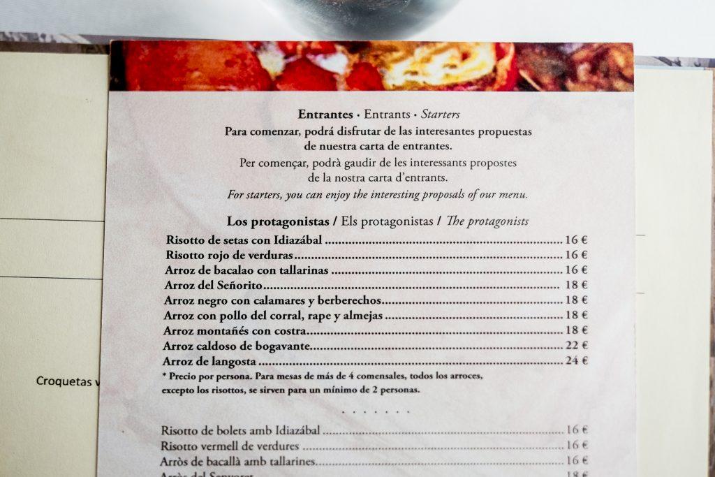 carta restaurant pelai